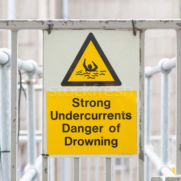 ストックフォト: 水 · ハザード · 標識 · 強い · 危険
