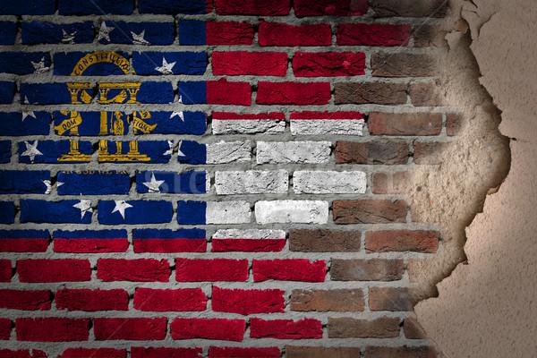темно кирпичная стена штукатурка Грузия текстуры флаг Сток-фото © michaklootwijk