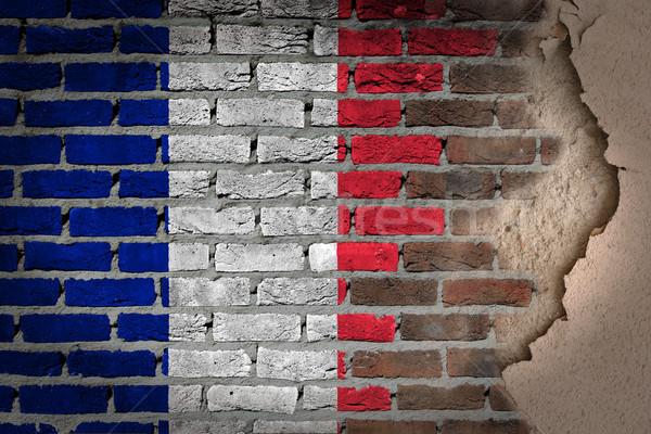Sötét téglafal tapasz Franciaország textúra zászló Stock fotó © michaklootwijk