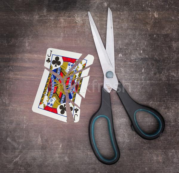 Dipendenza carta forbici carta legno carte Foto d'archivio © michaklootwijk