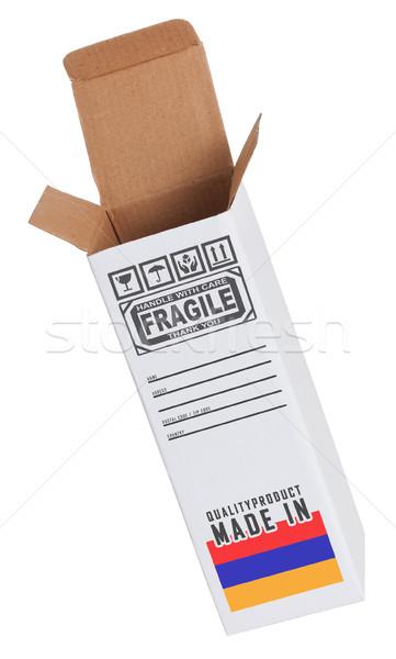 Exportar produto Armênia papel caixa Foto stock © michaklootwijk