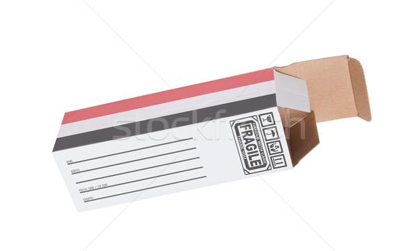 Exportar produto Iémen papel caixa Foto stock © michaklootwijk