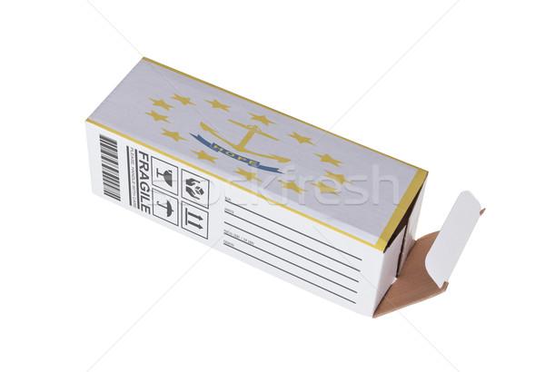 Export termék Rhode Island kinyitott papír doboz Stock fotó © michaklootwijk