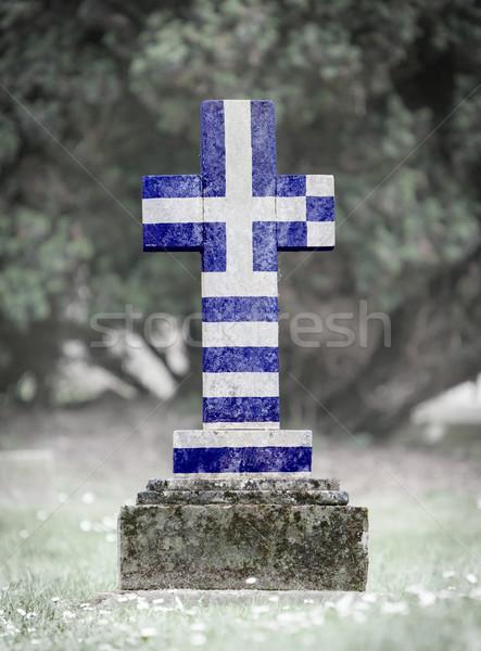 Lápide cemitério Grécia velho resistiu grama Foto stock © michaklootwijk