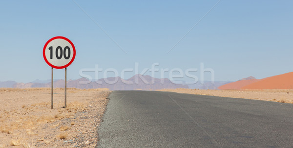 Speed limit sign at a desert road in Namibia Stock photo © michaklootwijk