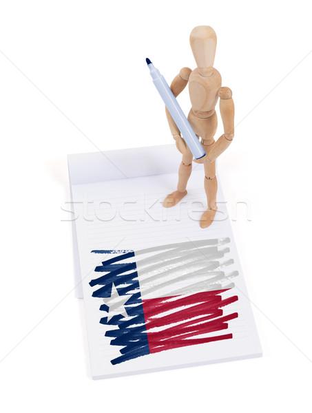 Ahşap manken çizim Teksas bayrak vücut Stok fotoğraf © michaklootwijk