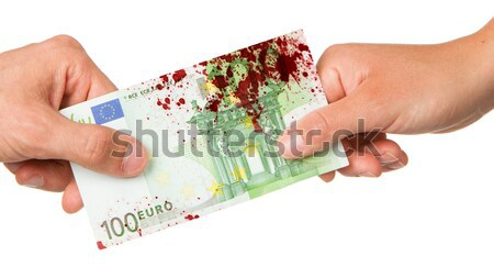 Man giving 450 euro to a woman, bloody Stock photo © michaklootwijk