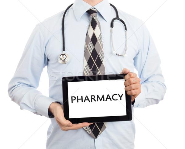 Stok fotoğraf: Doktor · tablet · eczane · yalıtılmış · beyaz