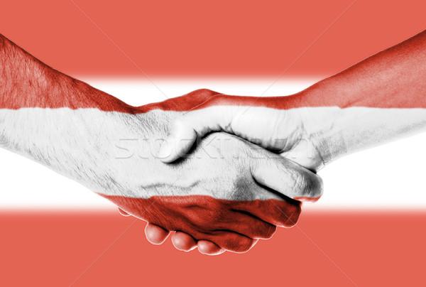 Férfi nő kézfogás zászló minta Ausztria Stock fotó © michaklootwijk
