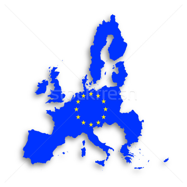 Illustration of a map of European union and EU flag  Stock photo © michaklootwijk