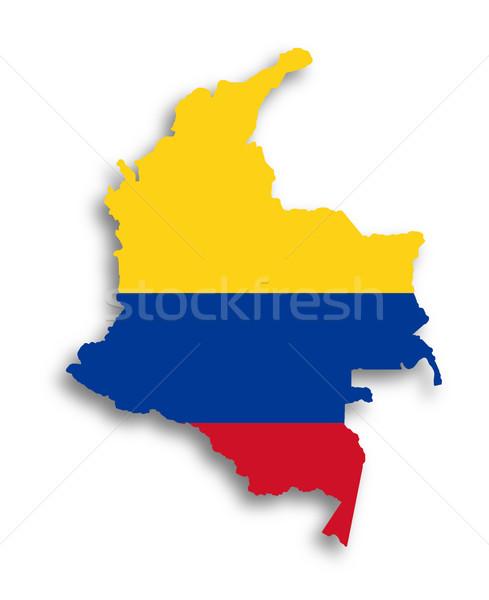 Kaart Colombia vlag geïsoleerd textuur achtergrond Stockfoto © michaklootwijk