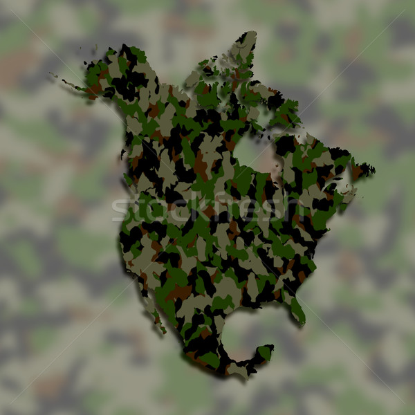 Map of North America filled with camouflage pattern Stock photo © michaklootwijk