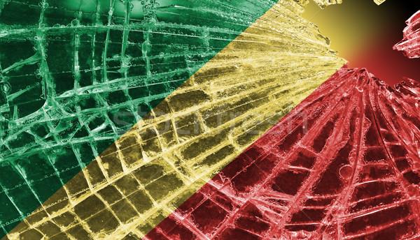Kırık cam buz bayrak cumhuriyet Kongo yalıtılmış Stok fotoğraf © michaklootwijk