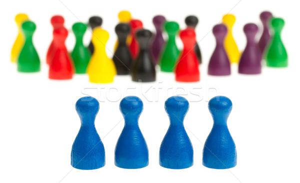 Vier Blauw verschillend gekleurd hout Stockfoto © michaklootwijk
