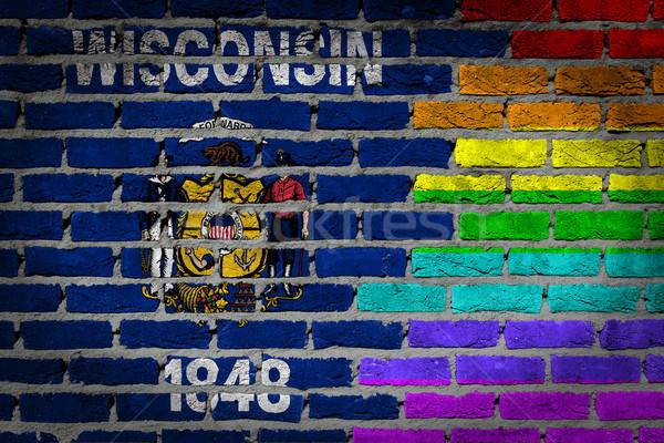 темно кирпичная стена правые Висконсин текстуры флаг Сток-фото © michaklootwijk