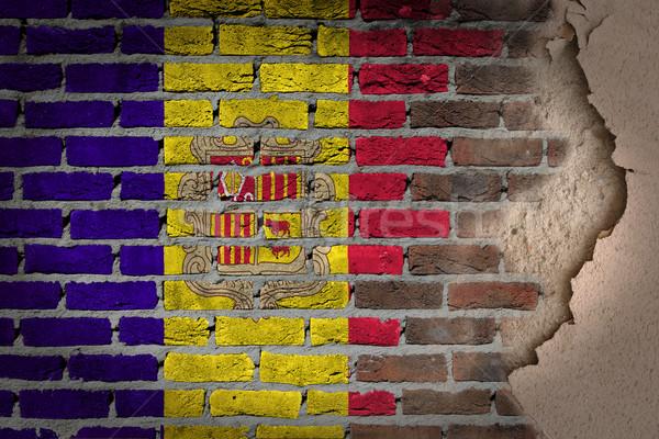 暗い レンガの壁 石膏 アンドラ テクスチャ フラグ ストックフォト © michaklootwijk
