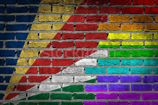 темно кирпичная стена правые Сейшельские острова текстуры флаг Сток-фото © michaklootwijk