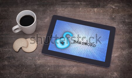 Tablet wifi bağlantı ahşap büro bilgisayar Stok fotoğraf © michaklootwijk