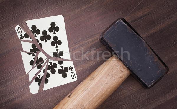 Foto stock: Martelo · quebrado · cartão · dez · vintage · veja