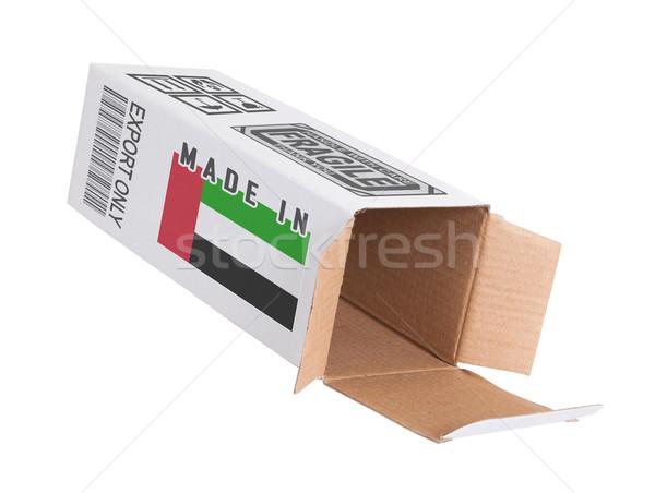 Export termék Egyesült Arab Emírségek kinyitott papír doboz Stock fotó © michaklootwijk