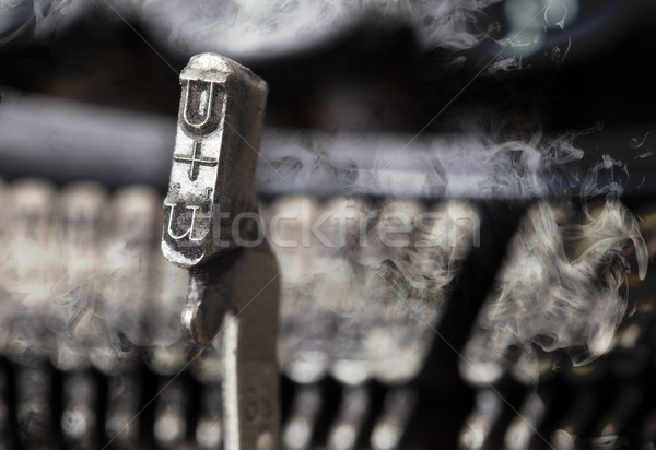 U hammer - old manual typewriter - mystery smoke Stock photo © michaklootwijk