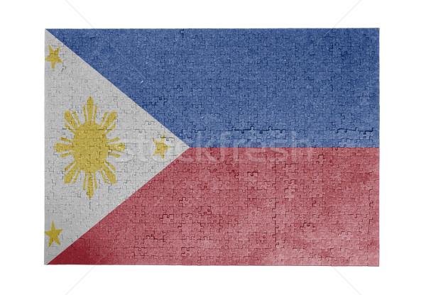 Nagy kirakós játék 1000 darabok Fülöp-szigetek zászló Stock fotó © michaklootwijk