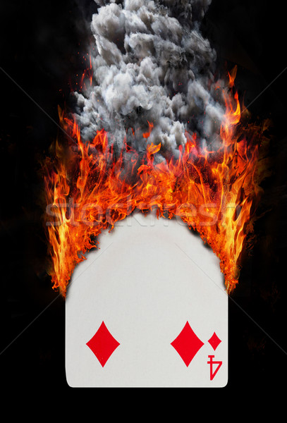 Playing card with fire and smoke Stock photo © michaklootwijk