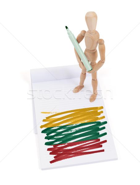 Houten etalagepop tekening Litouwen vlag papier Stockfoto © michaklootwijk