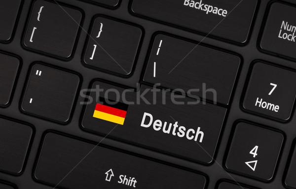 Belépés gomb zászló Németország nyelv tanul Stock fotó © michaklootwijk