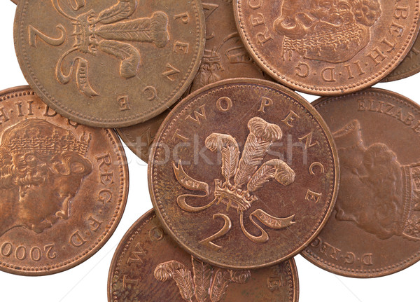 Two Pence coins isolated, selective focus Stock photo © michaklootwijk