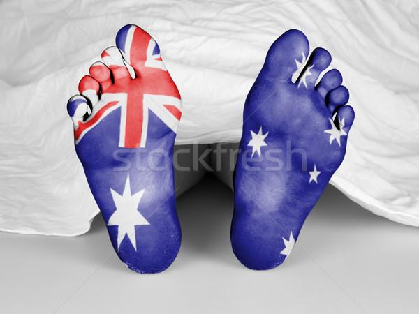 Lijk witte vel vlag Australië vrouw Stockfoto © michaklootwijk