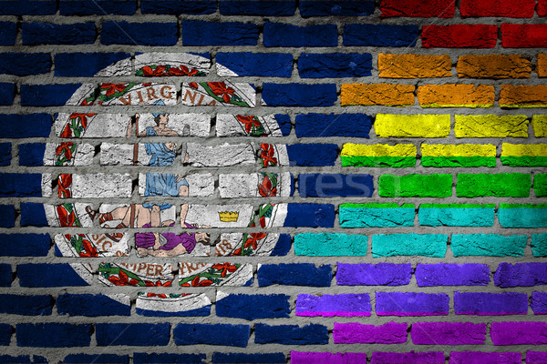 темно кирпичная стена правые Виргиния текстуры флаг Сток-фото © michaklootwijk