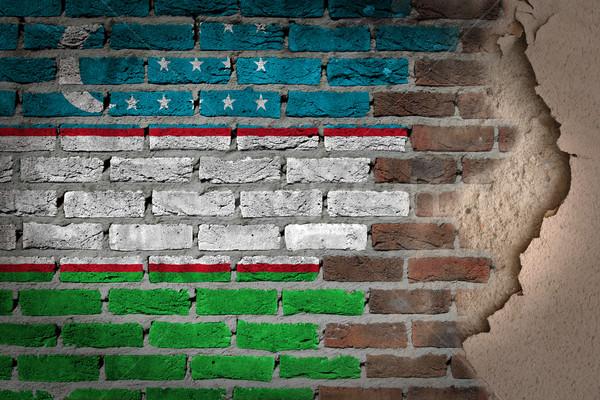 Sötét téglafal tapasz Üzbegisztán textúra zászló Stock fotó © michaklootwijk