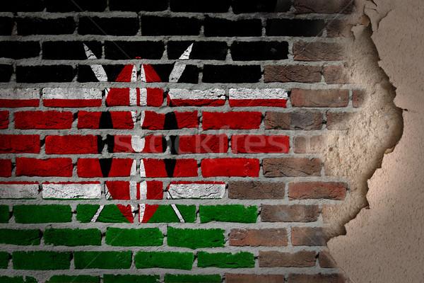 Sötét téglafal tapasz Kenya textúra zászló Stock fotó © michaklootwijk