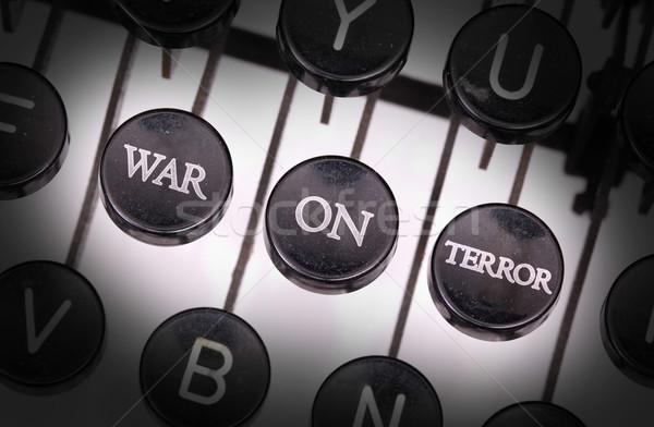 Macchina da scrivere speciale pulsanti guerra terrore tastiera Foto d'archivio © michaklootwijk