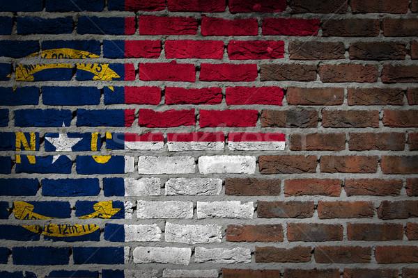 Parede de tijolos textura bandeira velho escuro vermelho Foto stock © michaklootwijk