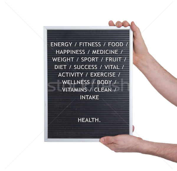 Health concept in plastic letters on very old menu board Stock photo © michaklootwijk