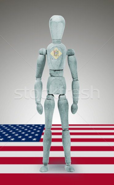 Wood figure mannequin with US state flag bodypaint - Delaware Stock photo © michaklootwijk