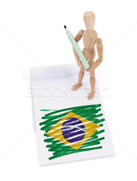 Bois mannequin dessin Brésil pavillon papier Photo stock © michaklootwijk