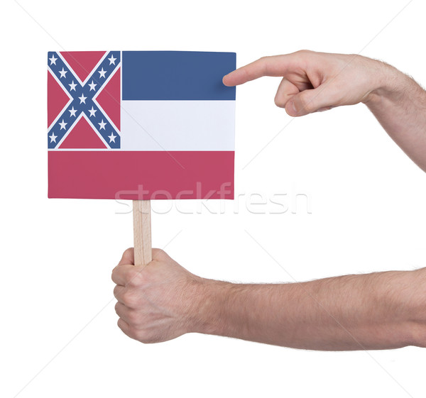 Hand holding small card - Flag of Mississippi Stock photo © michaklootwijk