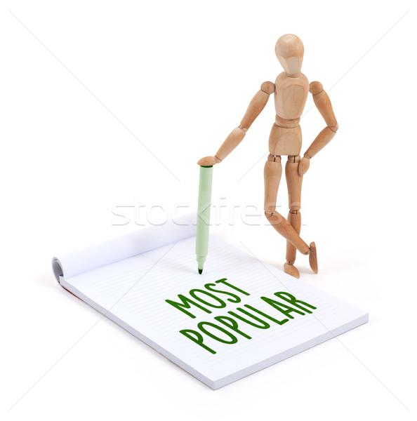 Houten etalagepop schrijven populair plakboek papier Stockfoto © michaklootwijk