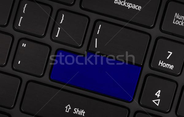 портативного компьютера клавиатура синий кнопки текста бизнеса Сток-фото © michaklootwijk