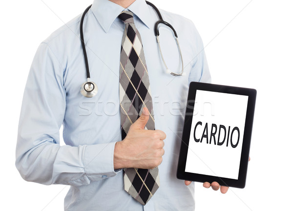Médico tableta cardio aislado blanco Foto stock © michaklootwijk