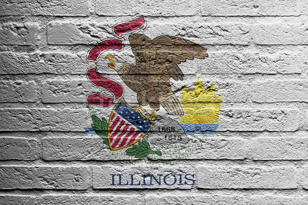 Tuğla duvar boyama bayrak Illinois yalıtılmış boya Stok fotoğraf © michaklootwijk
