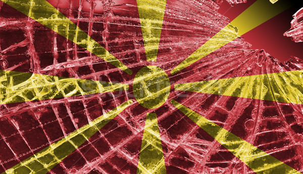 Broken ice or glass with a flag pattern, Macedonia  Stock photo © michaklootwijk