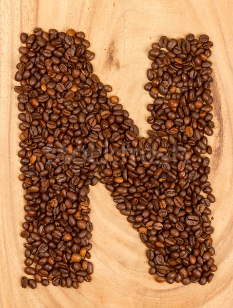 Letter N, alphabet from coffee beans Stock photo © michaklootwijk