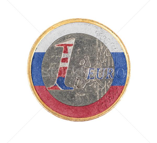 ユーロ コイン 孤立した 白 フラグ スロバキア ストックフォト © michaklootwijk