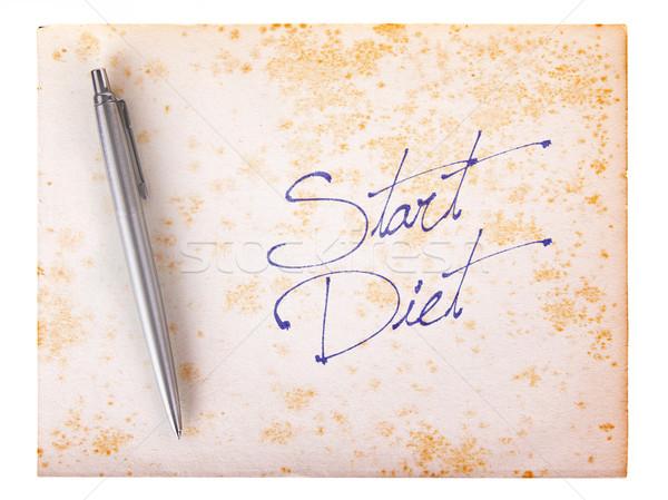 Stockfoto: Oud · papier · grunge · start · dieet · witte · bruin