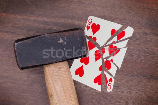 Stock fotó: Kalapács · törött · kártya · kilenc · szívek · klasszikus
