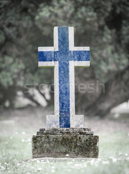 Grafsteen begraafplaats Finland oude verweerde steen Stockfoto © michaklootwijk
